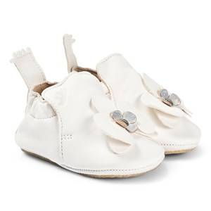 Easy Peasy White Flower Leather Crib Shoes with Crepe Sole Lasten kengt 24 (UK 7)