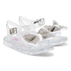 Lelli Kelly Silver Dalia Diamante Bow Jelly Sandals Lasten kengt 22 (UK 5)