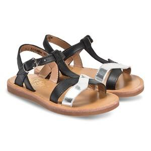 Image of Pom Dapi Black and Silver Leather Plagette Salome Tek Sandals Lasten kengt 25 (UK 8)