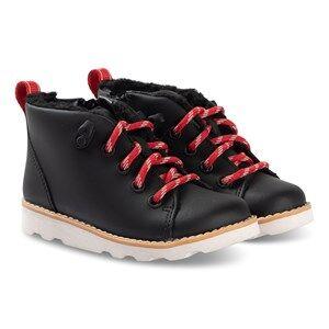 Clarks Crown Tor Boots Black Leather Lasten kengt 33.5 (UK 1.5)