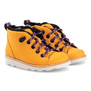 Clarks Crown Tor Boots Yellow Leather Lasten kengt 33.5 (UK 1.5)