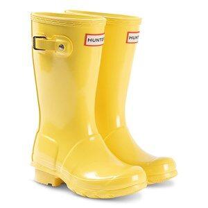 Hunter Original Kids Gloss Rain Boots Yellow Wellingtons