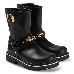 Moschino Kid-Teen Logo Boots Black Lasten kengt 31 (UK 12.5)