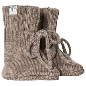 Little Jalo Knitted Baby Booties Wood Brown Lasten kengt 62/68 cm