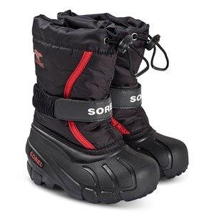 Sorel Childrens Flurry Snow Boots Black/Bright Red