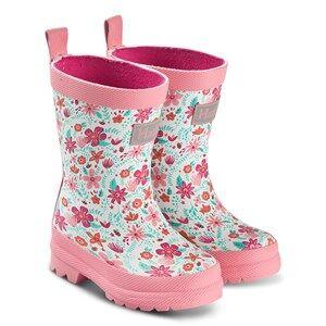 Hatley Summer Garden Matte Rain Boots Pink Wellingtons