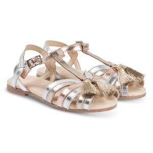 Carrment Beau Tassle Detail Sandals Silver/Bronze Lasten kengt 35 (UK 2.5)