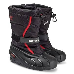 Sorel Youth Flurry Snow Boots Black/Bright Red
