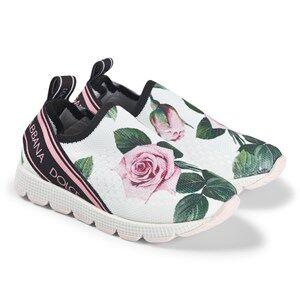 Dolce & Gabbana Tropical Rose Slip-On Sneakers White Lasten kengt 34 (UK 2)