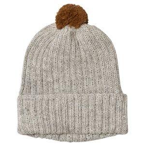 Huttelihut Baby Knitted Hat Ribbed Light Grey / Oak Pompom Beanies