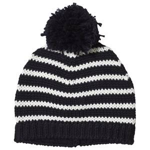 Image of Petit Bateau Beanie with Pompom Striped Blue/Off-White Beanies