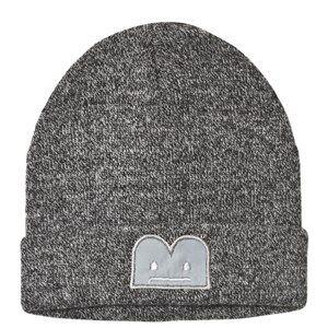 The BRAND Knitted Hat Fur Tail Black White Melange Beanies