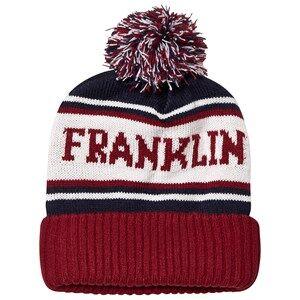 Marshall Franklin & Marshall Dark Red & Navy Colourblock Branded Bobble Beanie Beanies