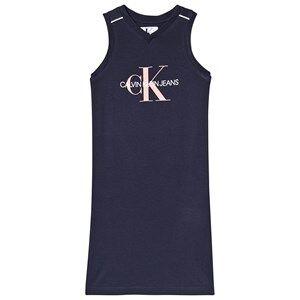 Image of Calvin Klein Jeans Navy and White Calvin Klein Logo Midi Jersey Dress 6 years