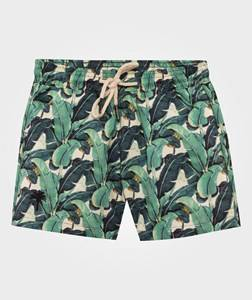 OAS Boys Childrens Clothes Swimwear and coverups White Banana Leaf Swim Trunks