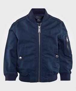 Ralph Lauren Boys Childrens Clothes Coats and jackets Blue Cotton Bomber Jacket Chateau Navy