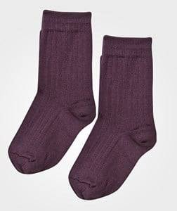 Lillelam Girls Childrens Clothes Underwear Purple Two Pack Wool Socks Plum