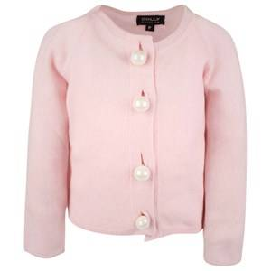 Image of DOLLY by Le Petit Tom Girls Childrens Clothes Jumpers and knitwear Pink Pearled Up Cardigan Pink