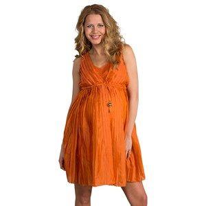 Image of Mom2Mom Girls Private Label Maternity dresses Orange Pleated Dress Burnt Orange