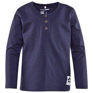 Mini Rodini Unisex Childrens Clothes Tops Blue Basic Long Sleeve Grandpa Top Dark Blue