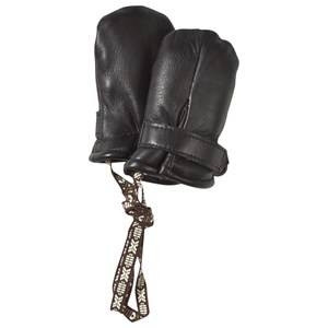 Image of Lindberg Unisex Childrens Clothes Gloves and mittens Black Classic Leather Mini Mitten Wool Black