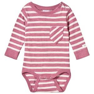 Image of eBBe Kids Girls Childrens Clothes All in ones Pink Almond Baby Body Dusty Pink/Off White Stripe