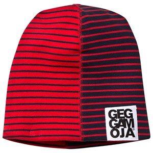Geggamoja Unisex Childrens Clothes Headwear Navy Two Color Hat Fleece Navy/Red