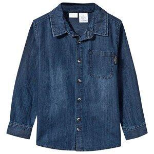 Kardashian Kids Boys Childrens Clothes Tops Blue Oversized Chambray Shirt