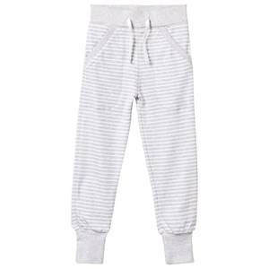 Geggamoja Unisex Childrens Clothes Bottoms Grey Long Pants Light Grey Mel/White