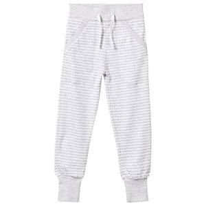 Geggamoja Unisex Childrens Clothes Bottoms Grey Long Pants Light Grey Mel/White