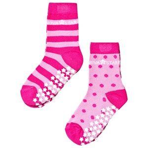 Nova Star Girls Underwear Pink 2-Pack Anti-Slip Pink Socks