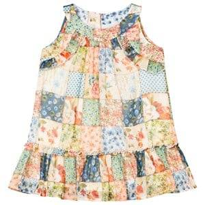 Image of Mayoral Girls Dresses Multi Multi Floral Patchwork Frill Drop Waist Dress