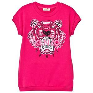 Kenzo Girls Dresses Pink Hot Pink Tiger Print Sweatshirt Dress