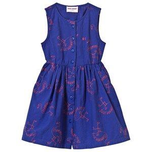 Bobo Choses Girls Dresses Blue Flamingos Shaped Dress Mazarine Blue