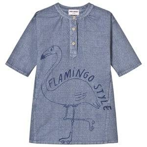 Bobo Choses Girls Dresses Blue Flamingo Vintage Dress Cloud Blue