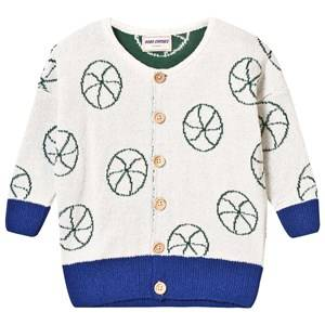 Image of Bobo Choses Girls Jumpers and knitwear White Knit Cardigan Basket Ball Off White