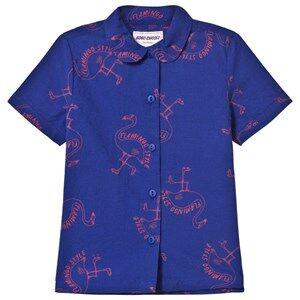 Bobo Choses Girls Tops Blue Flamingos Blouse Mazarine Blue