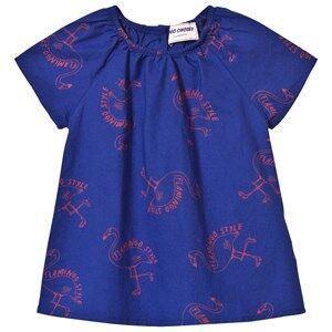 Bobo Choses Girls Dresses Blue Flamingos Baby Dress Mazarine Blue