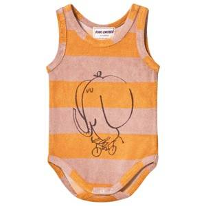 Image of Bobo Choses Girls All in ones Yellow Striped Terry Body The Cyclist Golden Nugget