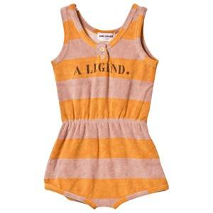 Image of Bobo Choses Girls All in ones Yellow Striped Terry Romper A Legend Golden Nugget