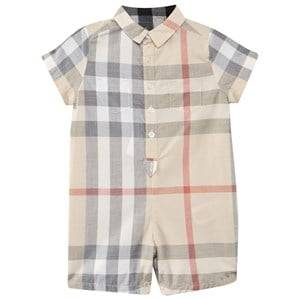 Image of Burberry Unisex Childrens Clothes All in ones Beige Check Cotton Playsuit