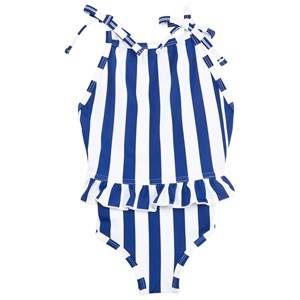 The BRAND Girls Private Label Swimwear and coverups Blue Bow Swim Suit Blue/White Stripe