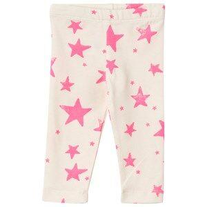 Noe & Zoe Berlin Unisex Childrens Clothes Bottoms White Baby Leggings Neon Pink Stars