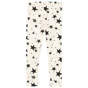 Noe & Zoe Berlin Unisex Childrens Clothes Bottoms White Baby Leggings Black Stars