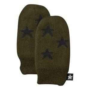 Image of Molo Unisex Childrens Clothes Gloves and mittens Green Snowflake Mittens Hidden Green