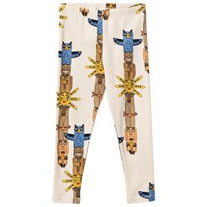 Mini Rodini Unisex Childrens Clothes Bottoms Beige Totem Leggings Beige