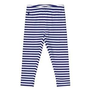 Image of Ralph Lauren Girls Childrens Clothes Bottoms Multi Striped Jersey Leggings Active Royal/White