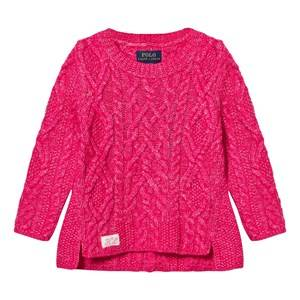 Ralph Lauren Girls Childrens Clothes Jumpers and knitwear Pink Aran-Knit Cotton-Blend Sweater Desert Pink