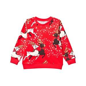 Mini Rodini Unisex Childrens Clothes Jumpers and knitwear Red Reindeer Sweatshirt Red