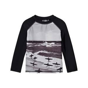 Image of Molo Unisex Swimwear and coverups Black Neptune UV Long Top Running Surfers
